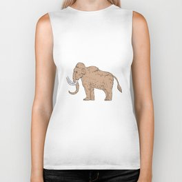 Woolly Mammoth Side Drawing Biker Tank