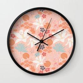 Orange Japanese pond florals Wall Clock