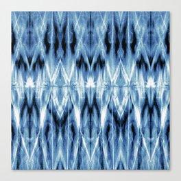 Blue Satin Shibori Argyle Canvas Print