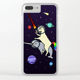 Llamacorn Riding Narwhal In Space Clear iPhone Case