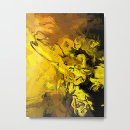 Yellow Lily Golden Light Flower Maelstrom Metal Print