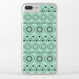 boho turquoise pattern with mandalas Clear iPhone Case