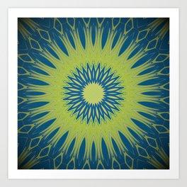 Bright Lime Green and Blue Mandala Art Print