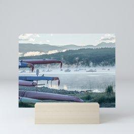 Sail Boat Lake Fog // Calming Sunrise in the Mountains on the Water Mini Art Print