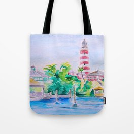Elbow Reef Lighthouse Hope Town, Abaco, Bahamas Watercolor painting Tote Bag