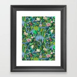 Improbable Botanical with Dinosaurs - dark green Framed Art Print