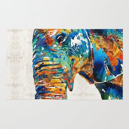 Colorful Elephant Art by Sharon Cummings Rug