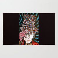 johnny depp Area & Throw Rugs featuring Johnny Depp as Willy Wonka by Portraits on the Periphery