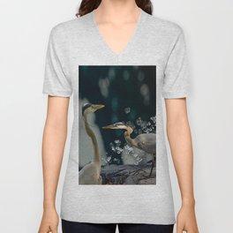 Great blue herons Unisex V-Neck