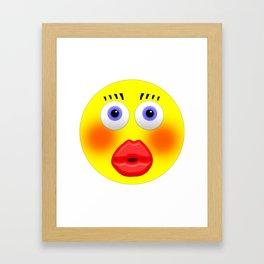 Smiley Embarrassed Kissing Girl Framed Art Print