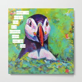 Puffin at home Metal Print