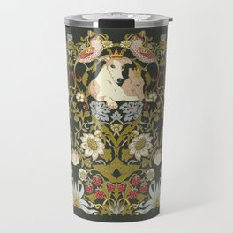 Whippets and Strawberry Thieves Travel Mug