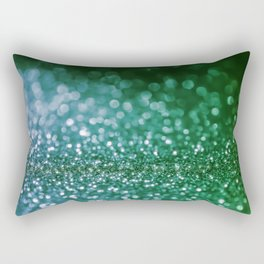 Aqua Glitter effect- Sparkling print in green and blue Rectangular Pillow
