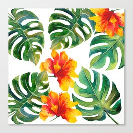 Monstera And Hibiscus Canvas Print