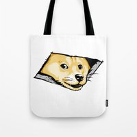 doge Tote Bags featuring Ceiling Doge by Jimiyo