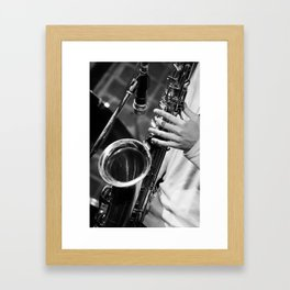 Jazz and Saxophone Framed Art Print