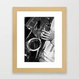 Jazz and Saxophone Framed Art Print