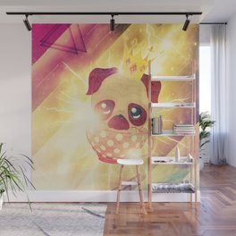 Kawaii pug flying in a cup lightings and starry texture Wall Mural