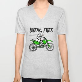 Cow riding a motorbike Unisex V-Neck