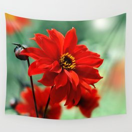 Dahlia red 082 Wall Tapestry