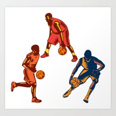 Basketball Player Dribble Woodcut Collection Art Print