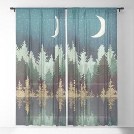 Star Forest Reflection Sheer Curtain