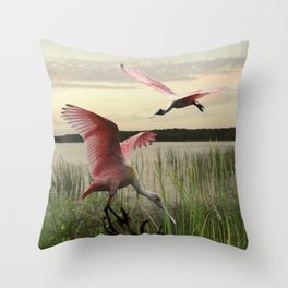 The Spoonbills of Lake Saint George Throw Pillow