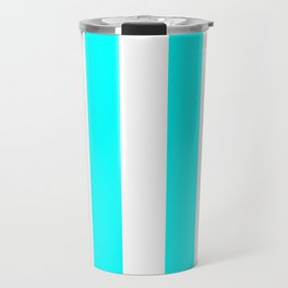 Vertical Stripes - White and Aqua Cyan Travel Mug