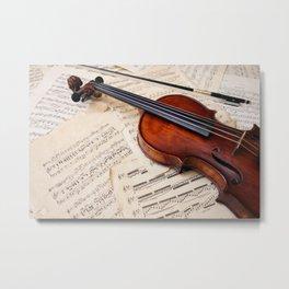 Violin music and notation Metal Print