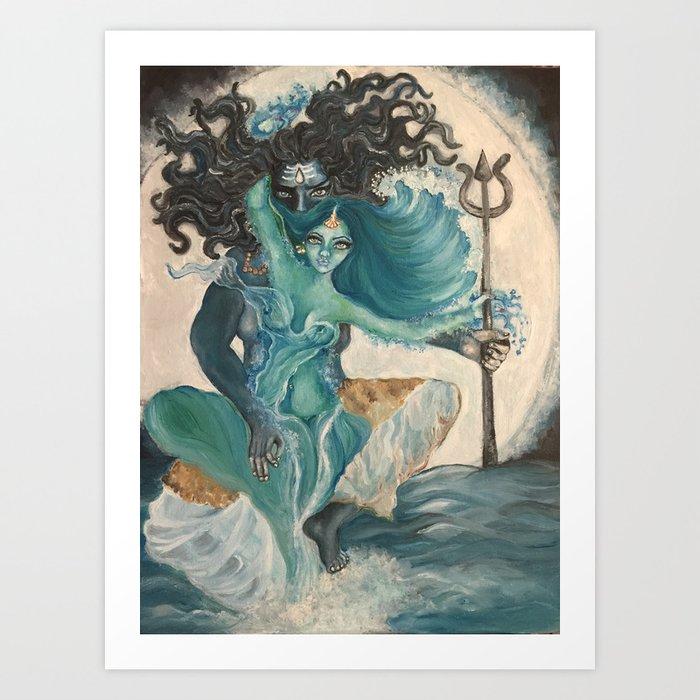 lord shiva and parvati Art Print by navi107