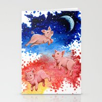 pigs Stationery Cards featuring 3 Pigs by Priscilla George
