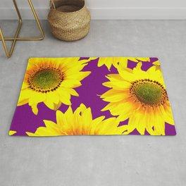 Sunflowers on a purple background - summer mood - #Society6 #buyart Rug