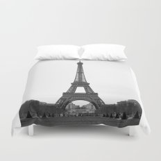 Eiffel Tower in black and white Duvet Cover