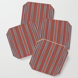 Grey and terracotta stripes Coaster