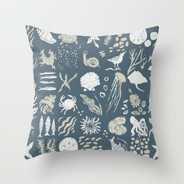 Coastal Story Blue Indigo Throw Pillow