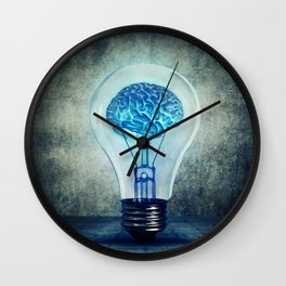 lightbulb brain shining Wall Clock