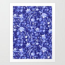 Upside Floral Blue Art Print