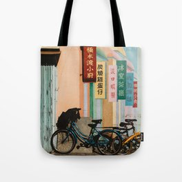 Bicycle Shadows Tote Bag