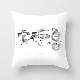 Name: Andrew. Free hand writing in Chinese Calligraphy Throw Pillow