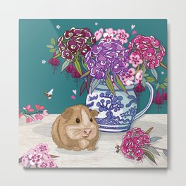 Guinea Pig with Blue Willow Jug of Sweet Williams Metal Print