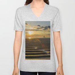 Sandbars and Sunset Coastal Nature / Landscape Photograph Unisex V-Neck