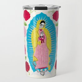 Skull Virgin of Guadalupe_ Hand embroidered Travel Mug