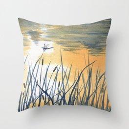 Dawn on the pond Throw Pillow