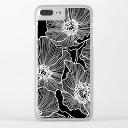Black and White Poppies Clear iPhone Case