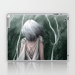 Girl  standing by a mountain Digital Art Painting Laptop & iPad Skin