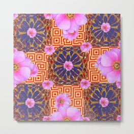 Delicate French Style Red Fuchsia Pink Wild Rose Gold Jewelry Abstract Metal Print