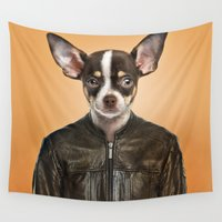 chihuahua Wall Tapestries featuring Chihuahua  by Life on White Creative