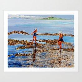 Come walk with me along the sea Art Print