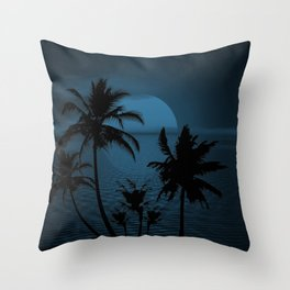 Twilight Moon on Exotic Tropical Island Throw Pillow