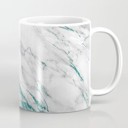 Gray Marble Aqua Teal Metallic Glitter Foil Style Coffee Mug